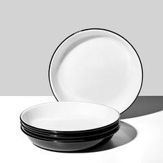 Falcon Black Enamelware Deep Plates Set of 4 Falcon Enamelware, British Home, Black Rims, Black Exterior, Humble Abode, Plate Sets, Porcelain, Deep, Plates
