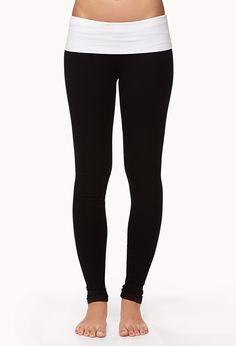 Contrast Waist Yoga Leggings | FOREVER21 Namaste #Activewear #Workout #Pants