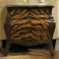 Hidden Treasures 3 Drawer Tiger Brown Chest modern dressers chests and bedroom armoires