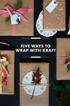I love the simple beauty of Kraft paper. Here are five ways to wrap with Kraft Merry Little Christmas, Winter Christmas, Christmas Holidays, Christmas Crafts, Christmas Decorations, Christmas Ideas, Holiday Fun, Holiday Gifts, Holiday Style