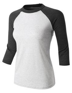 PREMIUM Womens Classic 3/4 Contrast Raglan Sleeve Baseball Shirt