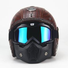 This beauty is one of our best-selling open face motorcycle helmets. With its genuine leather outside, DOT approved materials & goggle mask, its the most badass way to cruise. Brand Name: VOSS Model Name: V-052 Helmet Style: 3-4 Open face Helmet Type: Cruiser Helmet Helmet Material: Abs Weight: 1000g Certification: DOT Gender: Unisex