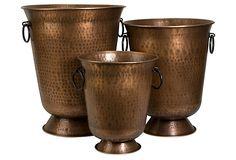 S/3 Meziere Copper Plated Planters