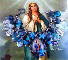 "Catholic Virgin Mary ""Stella Maris""  Religious Medals Charm Bracelet http://stores.ebay.com/letyscreations #HandmadeHandcrafted #PendantCatholicMedalsBeads"