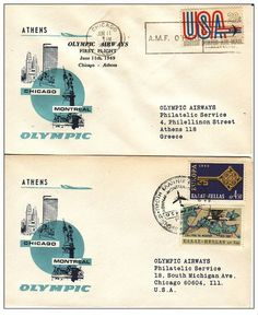 Olympic Airways - 1st Flight ATHENS-MONTREAL-CHICAGO (11-6-69)