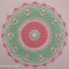 ~Diamond Points Crochet-a-Long Doily~ Finished, February, 2015. I used Aunt Lydia's size 10 thread. The colors I used are Orchid Pink, Mint Green and White. https://www.pinterest.com/KnotForgottenSt/knot-forgotten-studio/