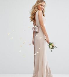 TFNC WEDDING Sateen Bow Back Maxi Dress - Pink