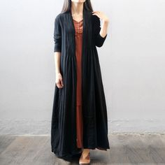 Women autumn and winter cotton  loose long coat - Buykud- 1