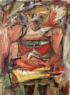 Woman V, 1952-53 (oil & charcoal on canvas) - Willem de Kooning. (De Kooning's series of Woman paintings in the early 1950s caused a stir in the New York City avant-garde circle)