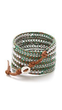 Chain & Imitation Pearl Wrap Bracelet
