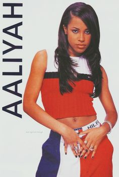 Aaliyah in the 1996 Tommy Hillfiger advertising campaign