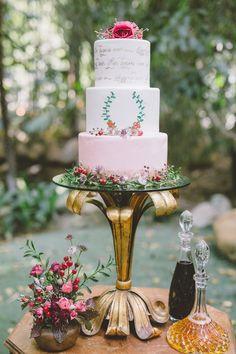 romantic wedding cake - photo by Anna Delores Photography http://ruffledblog.com/garden-wedding-inspiration-with-antique-details #weddingcake #cakes