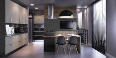 Cozinha cinza e preta