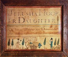 Birth record, Jerusha Hooper (b. 1795), 1804. Watercolor on paper, 7-7/8 x 9-1/2 inches. Courtesy, private collection.