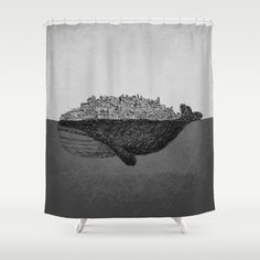 Whale City - Shower Curtain #bathroom #bathroomdecor #whale #whaledecor #blackandwhitedesign #vintagedecor