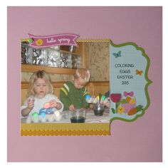 Easter scrapbook page made using Archiver's exclusive Hello Spring value pack by Doodlebug Design