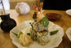 Prawn tempura and avocado sushi roll at Kouzu, London