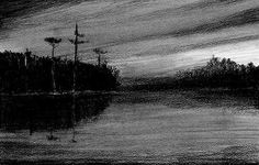 This greyscale charcoal landscape is a beautiful work. There is a series of eight charcoal landscapes of similar style.
