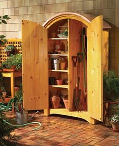 Sometimes the best cure for garage chaos is to add storage space elsewhere. A small locker that holds garden gear, for example, provides big relief to a crowded garage (This would also be good for storing BBQ gear and outdoor decorations)