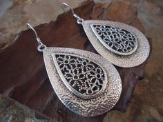DROP ORNAMENT EARRINGS 925 sterling silver by AsaiBolivien on Etsy, $10.90