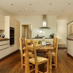 Oak floor and cream kitchen | kitchen decorating | housetohome.co.uk