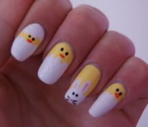 Inspiring picture bunny, chicken, easter, nails, yellow. Resolution: 500x335 px. Find the picture to your taste!