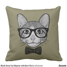 Black Grey Cat Hipster with Bow Tie Pillows