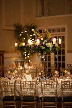 Vintage Gold Green Purple Centerpieces Chairs Indoor Reception Wedding Reception Photos & Pictures - WeddingWire.com