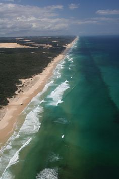 Fraser Island, aerial view of 75-mile beach, Queensland, Australia Copyright: Graham Porter Places Around The World, Around The Worlds, Great Places, Beautiful Places, Vacation Wishes, Fraser Island, Exotic Beaches, Sea Spray, Great Barrier Reef