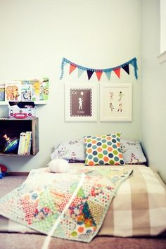 Montessori floor bed inspiration on Apartment Therapy Big Girl Rooms, Boy Rooms, Kids Rooms, Kid Spaces, Kids Bedroom, Bedroom Setup, Toddler Bed, Toddler Rooms, Room Decor