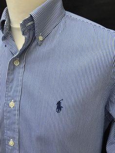 #Polo #RalphLauren #Mens #Shirt #Medium #CustomFit #Blue #White #Striped #Oxford #Cotton #eBay #triedandtestedmenswear