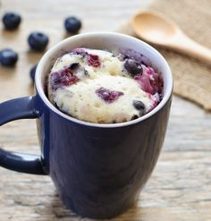 Blueberry Mug Cake. So Fluffy! Not eggy or rubbery and ready in 5 minutes | Kirbie's Cravings