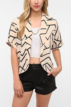 Sparkle & Fade Abstract Open Back Jacket - Black Multi - S