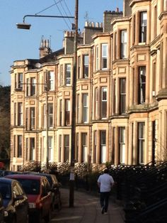 Tenements in the Sun Dowanside Road (off Byres Road - Glasgow West End. Glasgow Architecture, Beautiful Architecture, Art And Architecture, Glasgow Scotland, Edinburgh, Newark Castle, Cairngorms, Famous Places, English Countryside