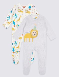 2 Pack Pure Cotton Animal Applique Sleepsuits with lion giraffe design. See more at http://www.parentideal.co.uk/marks-and-spencer--baby-girls-boys-sleepsuits.html or visit click on link to visit shop and view prices. Sizes Newborn to 2 years, cotton, machine washable. Baby boys, girls and unisex designs available. #Sleepsuits #Sleepsuit #BabyNightwear #BabyClothes #Newborn #BabyBoysClothes #BabyGirlsClothes