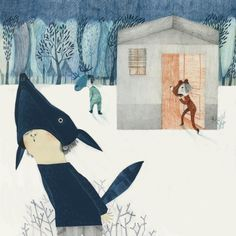 Pequeño buzo somnoliento by Esther Gómez Madrid, via Behance I love those trees in the background the most