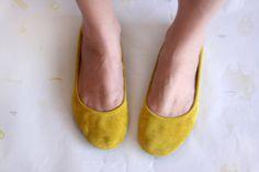 Mustard Ballet Flats — The Drifter Leather