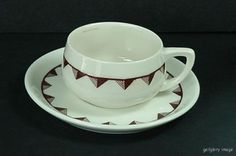 Cup-Saucer-Set-Lamberton-Scammell-Ivory-China-Demitasse-Size-Brown-Triangles-s