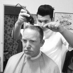 vintage flattop haircut, in progress, classic