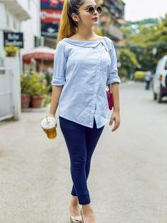 Fashion striped shirt - White and Blue Striped Shirt white blue blueandwhite women fashion style buttonlovers womensfashion Short Kurti Designs, Kurta Designs, Blouse Designs, Mode Outfits, Casual Outfits, Fashion Outfits, Womens Fashion, Kurti With Jeans, Kurta Neck Design