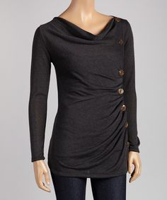 Love this J-MODE Charcoal Button Drape Top by J-MODE on #zulily! #zulilyfinds