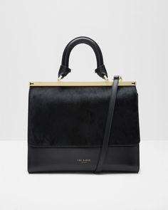 Leather top handle bag  - Black | Bags | Ted Baker