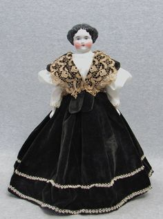 "18"" Beautiful Old Vintage Antique German High Brow China Head Cloth Lady Doll 