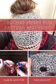 Crochet Messy Bun Hat Pattern and Video Tutorial
