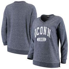 UConn Huskies Women's The Campus V-Neck Pullover Sweatshirt – Heathered Navy