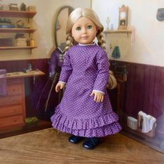 1880s Mary and Laura Prairie Dress in Purple by kgabor19 on Etsy. Get the 1880 Mary and Laura pattern here http://www.pixiefaire.com/products/1880-mary-and-laura-18-doll-clothes. #pixiefaire #1880maryandlaura