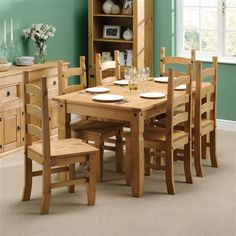 Corona Mexican Pine 152cm Dining Table with 6 Chairs including free delivery (297.136)   Pine Solutions