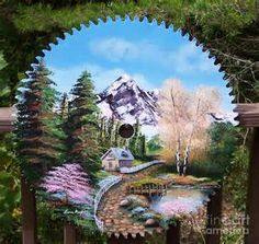 Cottage Painting On Sawblade Painting