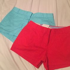 "J. Crew chino shorts NWT-- turquoise and red J. Crew 3"" chino shorts! Size 4 J. Crew Shorts"