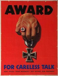 Award for careless talk...  US Adjutant General's Office  US Office of War Information  Stevan Dohanos  1944